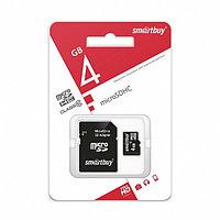 Карта памяти microSD Smartbuy 4 GB с адаптером (class 10)