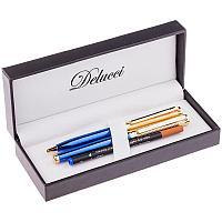 """Набор Delucci """"Azzurro"""": ручка шарик., 1мм и ручка-роллер, 0,6мм, синие, корпус син/зол., подар.уп."""