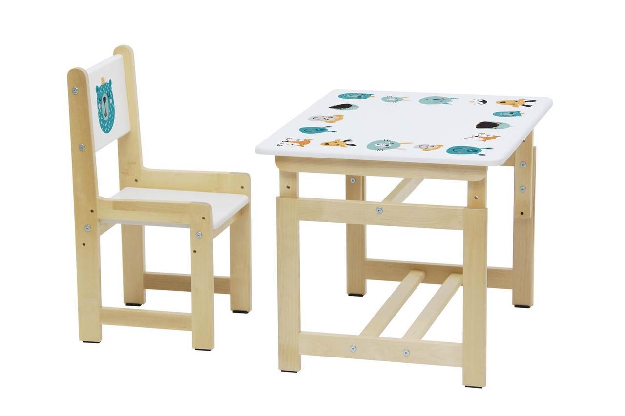 """Комплект Стол-стул детский, """" Дино 1"""" белый-натуральный"""