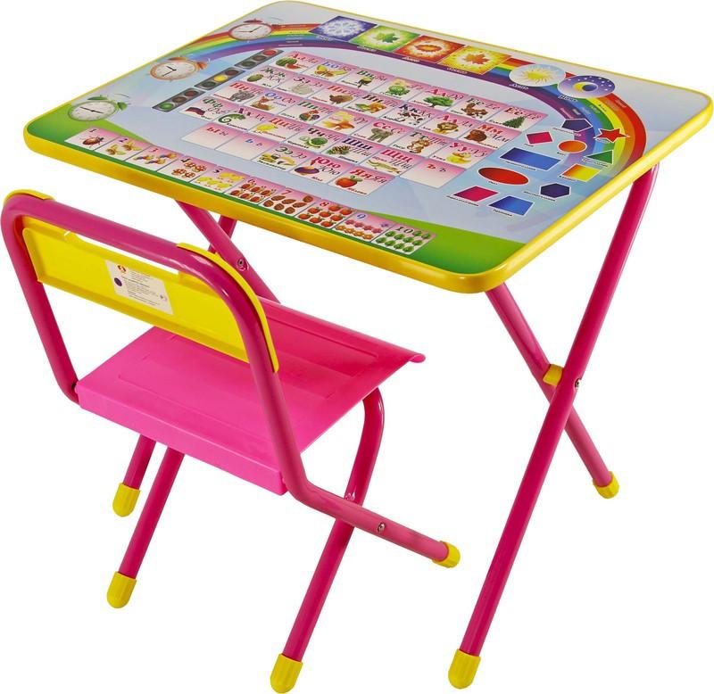 """Набор мебели стол+стул Дэми """"№1"""", (розовый, Алфавит,Электроник)"""