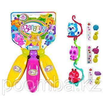 Bananas Игрушка с сюрпризом связка из 3х бананов, цвет желтый, розовый, желтый