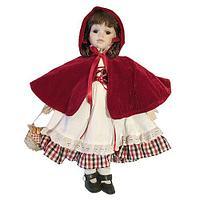 Декорация Фарфоровая кукла в бордовой накидке 40см SH46574
