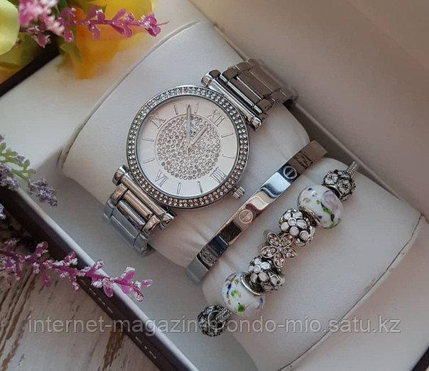 Набор Часы + браслет Картье и второй браслет Пандора в подарок