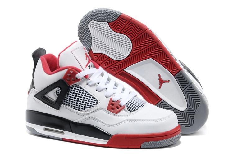 Баскетбольные кроссовки Nike Air Jordan 4 Retro бело-красные