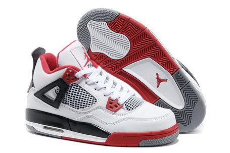 Баскетбольные кроссовки Nike Air Jordan 4 Retro бело-красные, фото 2