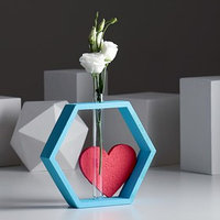 Рамка-ваза для цветов 'Шестигранник с сердцем', цвет бирюзовый, 22 х 4 х 22 см