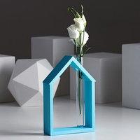 Рамка-ваза для цветов 'Домик', цвет бирюзовый, 15 х 21 см