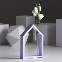Рамка-ваза для цветов 'Домик', цвет сиреневый, 15 х 21 см
