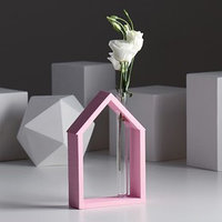 Рамка-ваза для цветов 'Домик', цвет розовый, 15 х 21 см