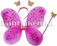 Набор феи бабочки крылья волшебная палочка и ободок (сиреневые)