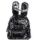 Рюкзак детский с ушками от Аминка витаминка (черный/серебро)