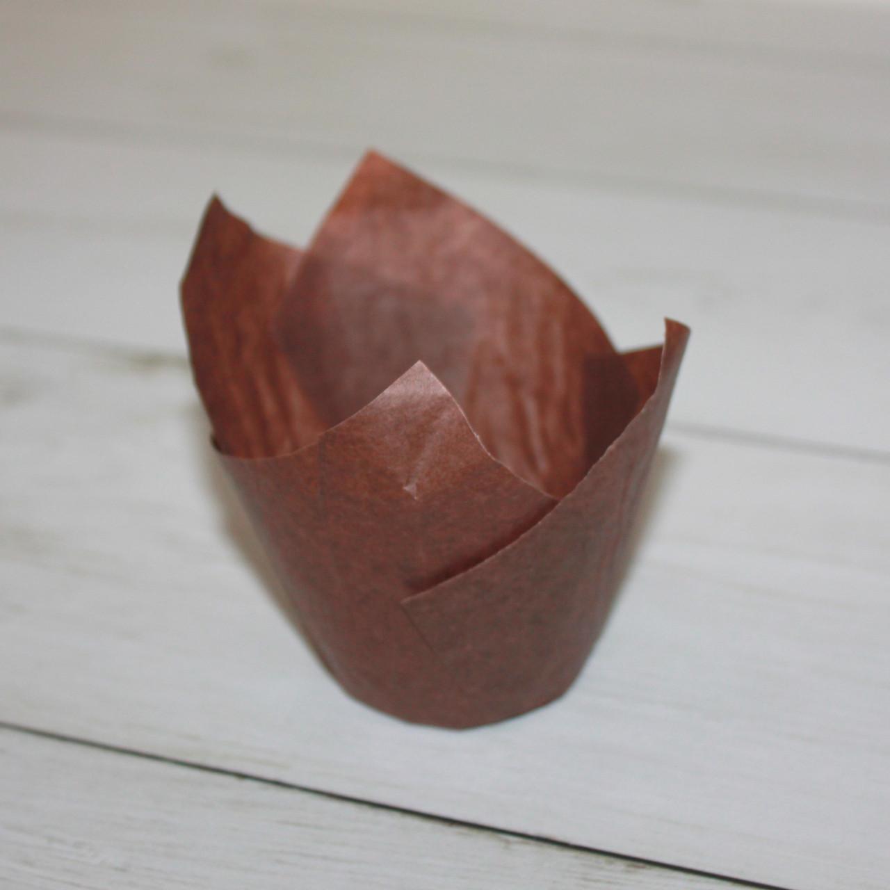 Бумажные тюльпаны для выпечки коричневая