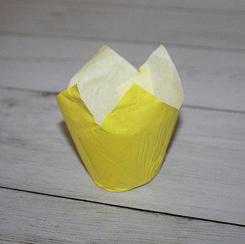 Бумажные тюльпаны для выпечки желтая