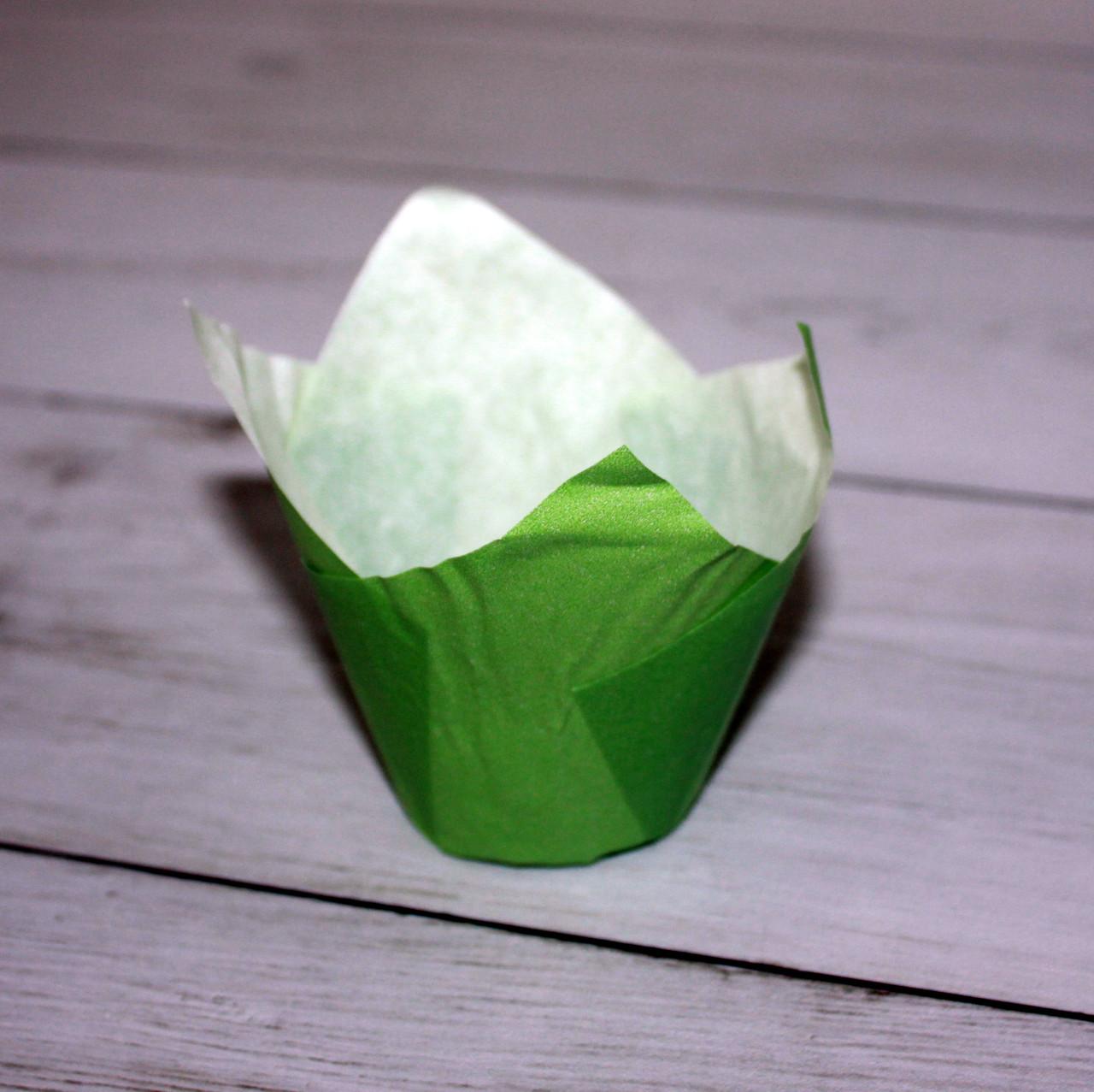 Бумажные тюльпаны для выпечки зеленая