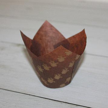 Бумажные тюльпаны для выпечки коричневая в цветочек