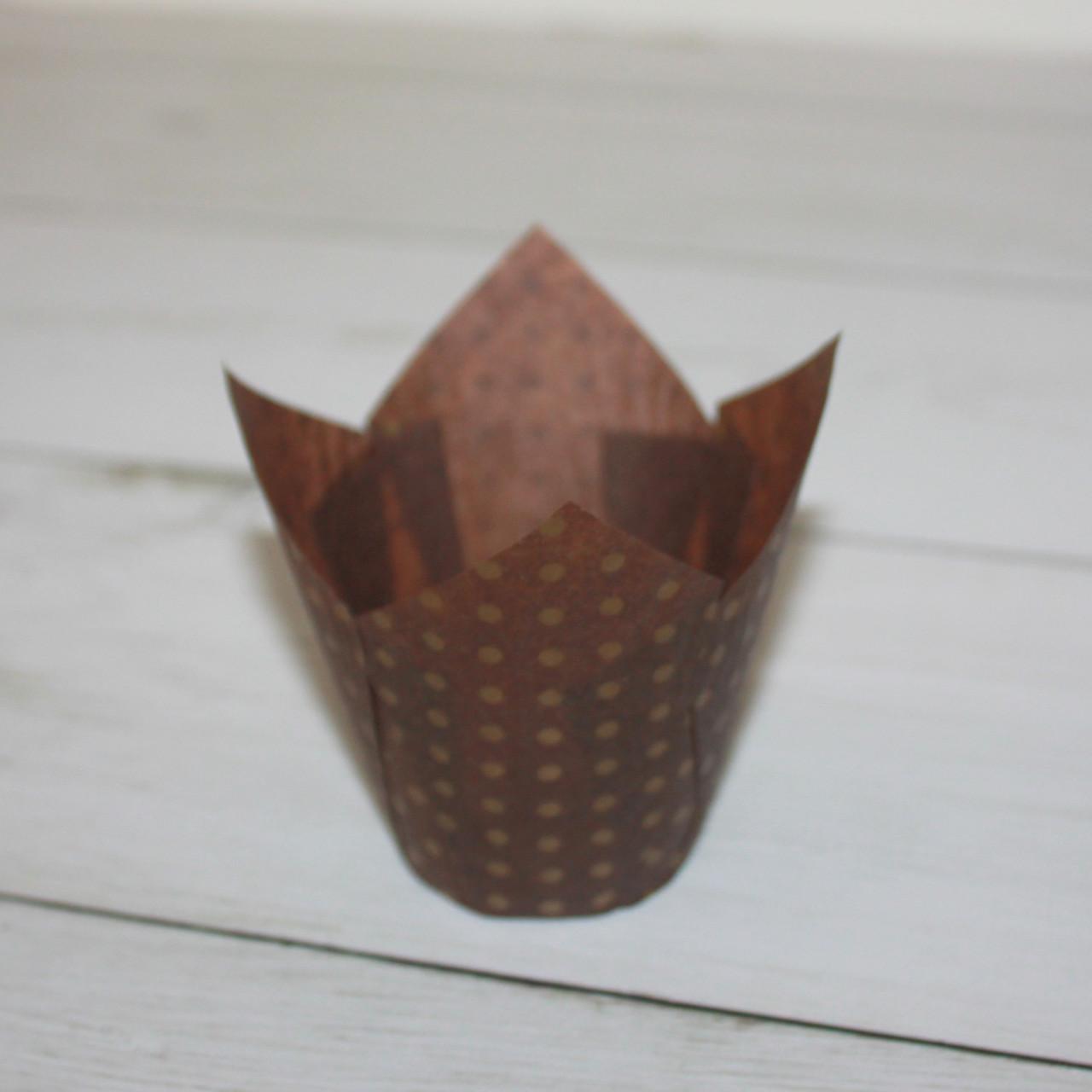 Бумажные тюльпаны для выпечки коричневая в горошек