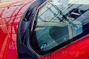 Накладка в проем стеклоочистителей (жабо) (черное тиснение) (ABS) RENAULT Sandero 2008-2014