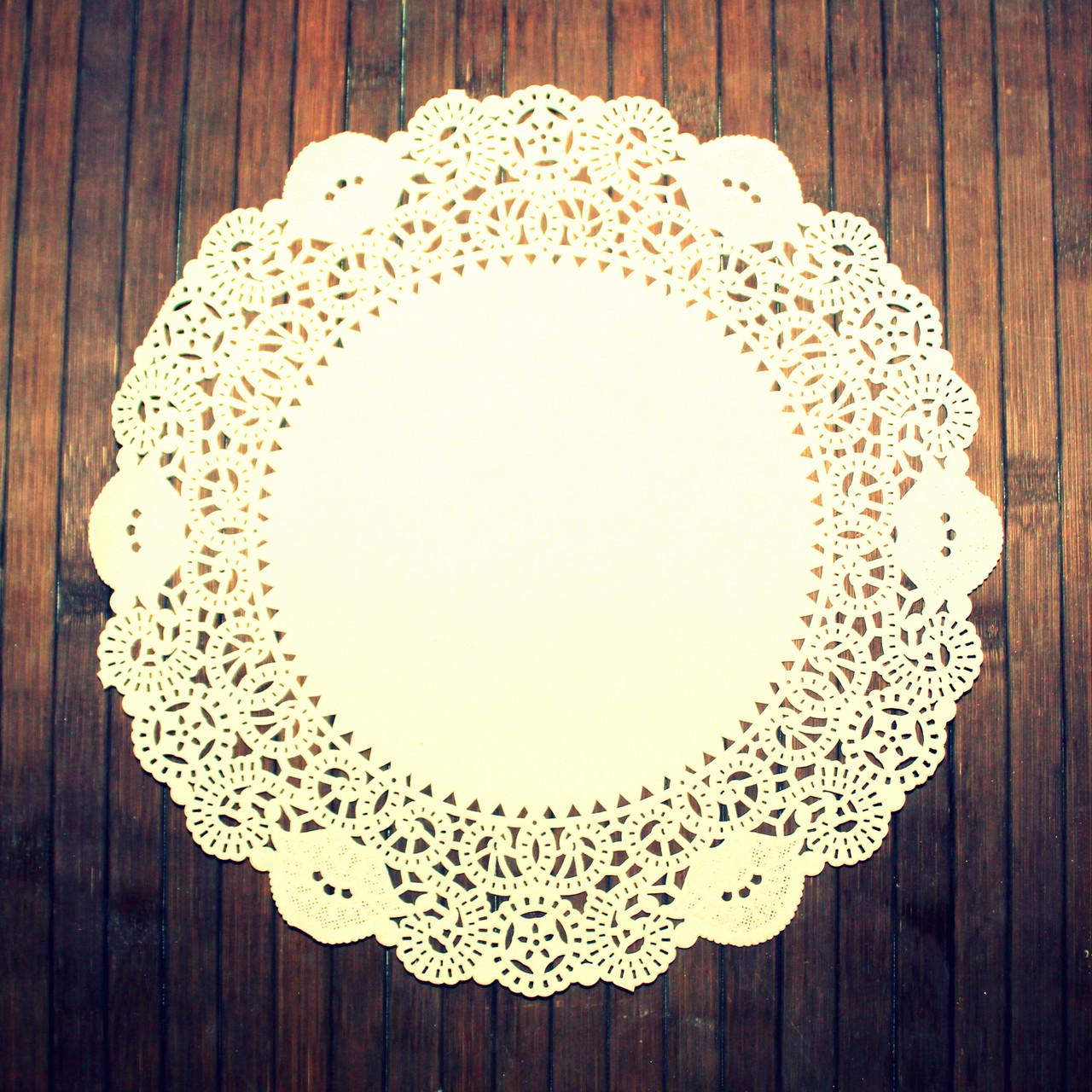 Салфетки ажурные бумажные кремовые 11 см (250 шт)