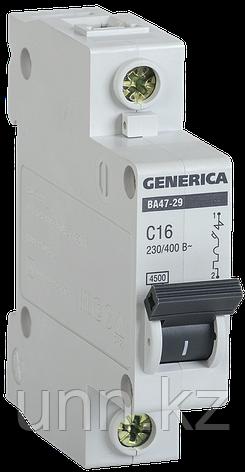 Автоматический выключатель ВА47-29 1Р 16А 4,5кА х-ка С GENERICA, фото 2