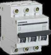Автоматический выключатель ВА47-29 3Р 16А 4,5кА х-ка С GENERICA