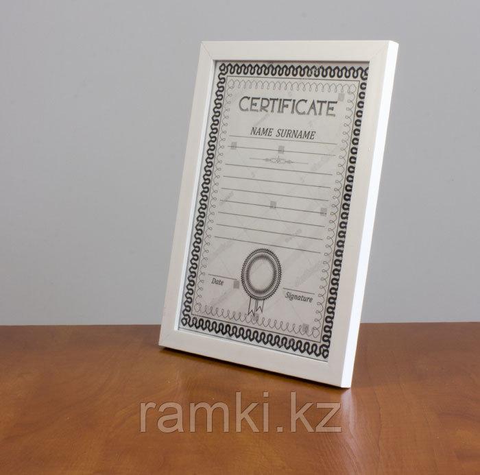 Рамка А4 прямая Белая, рамки для дипломов и сертификатов