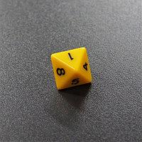 Кубик D8 непрозрачный желтый-«Желтый восьмигранный кубик (d8) для ролевых и настольных игр»
