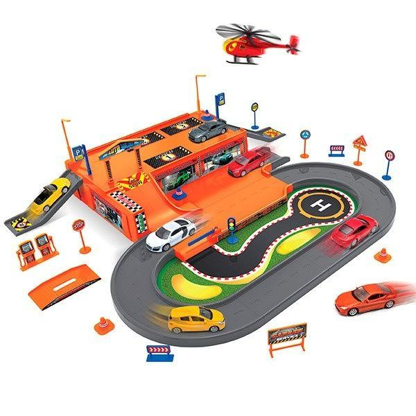 Welly: Игровой набор Гараж, включает 3 машины и вертолет