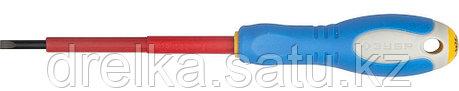 """ЗУБР """"ПРОФИ ЭЛЕКТРИК"""". Отвертка Cr-V, трехкомпонент рукоятка, высоковольтная до ~1000В, SL, 3,0x75 мм, фото 2"""