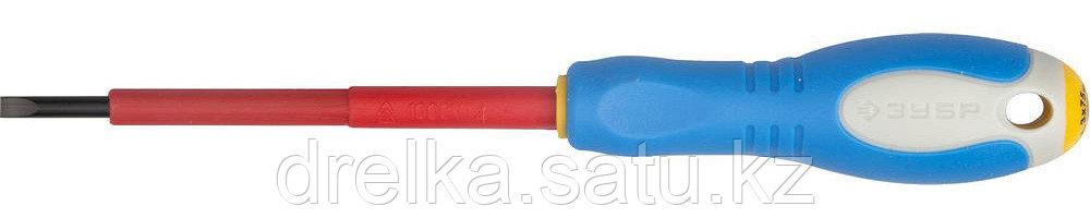 """ЗУБР """"ПРОФИ ЭЛЕКТРИК"""". Отвертка Cr-V, трехкомпонент рукоятка, высоковольтная до ~1000В, SL, 3,0x75 мм"""