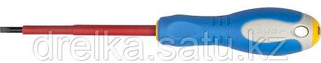 """ЗУБР """"ПРОФИ ЭЛЕКТРИК"""". Отвертка Cr-V, трехкомпонент рукоятка, высоковольтная до ~1000В, SL, 4,0x100 мм, фото 2"""