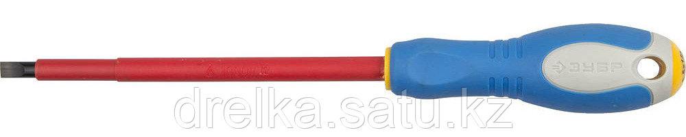 """ЗУБР """"ПРОФИ ЭЛЕКТРИК"""". Отвертка Cr-V, трехкомпонент рукоятка, высоковольтная до ~1000В, SL, 6,5x150 мм"""