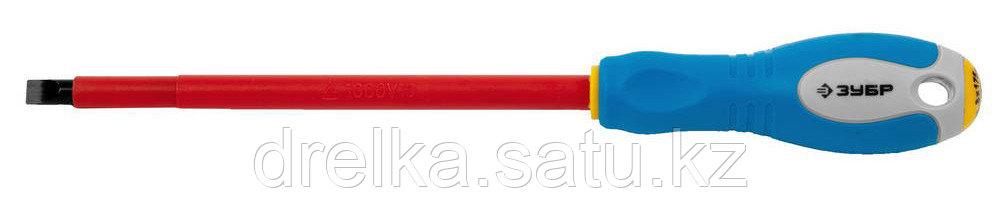 """ЗУБР """"ПРОФИ ЭЛЕКТРИК"""". Отвертка Cr-V, трехкомпонент рукоятка, высоковольтная до ~1000В, SL, 8,0x175 мм"""