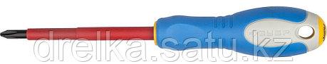 """ЗУБР """"ПРОФИ ЭЛЕКТРИК"""". Отвертка Cr-V, трехкомпонент рукоятка, высоковольтная до ~1000В, PH №2, 100 мм, фото 2"""