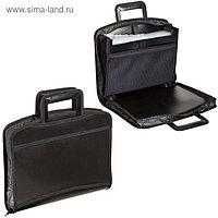 Портфель-папка пластиковый А4+, 355х290х60 мм, на молнии, выдвижные ручки, 8 отделений, 2 кармана, чёрный