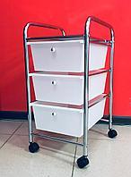 Столик инструментальный металлический, Помощник 3 полки с ящиками., фото 1