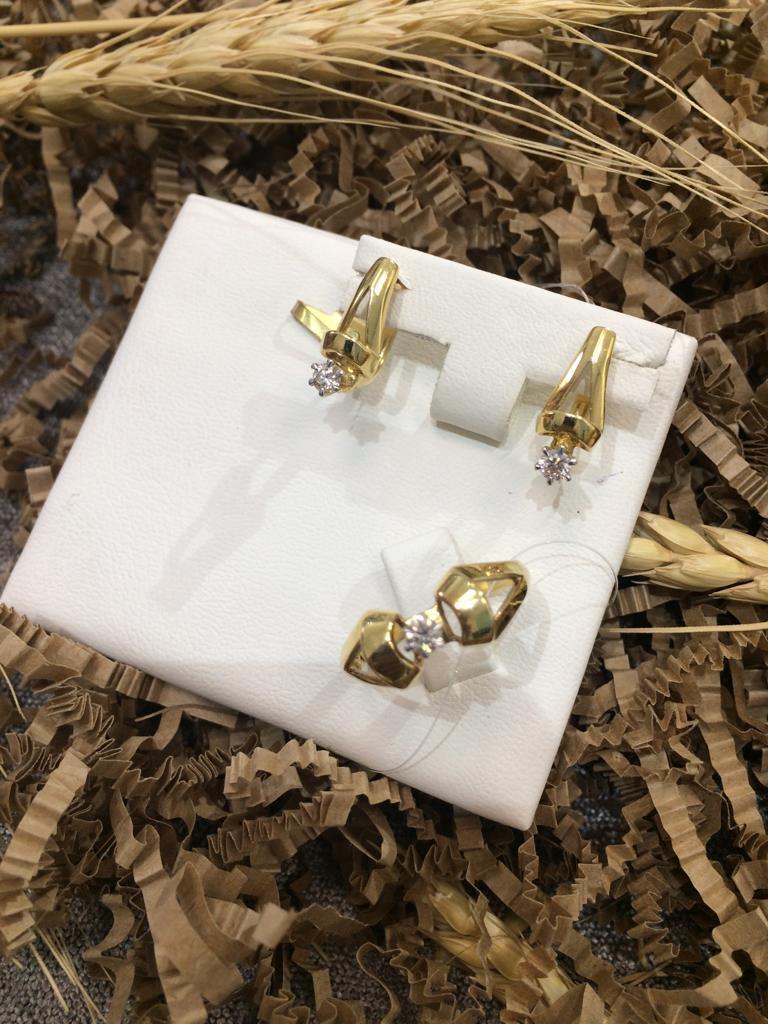 Комплект с бриллиантом