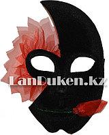 Венецианская карнавальная маска черно-красная (24*16см)
