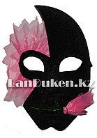 Венецианская карнавальная маска черно-розовая (24*16см)