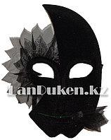 Венецианская карнавальная маска черно-серая (24*16см)