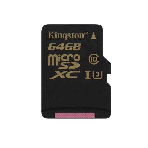 Карта памяти Kingston 64GB, SDCG/64GBSP, microSDXC Class U3 UHS-I 90R/45W Single Pack w/o Adapter