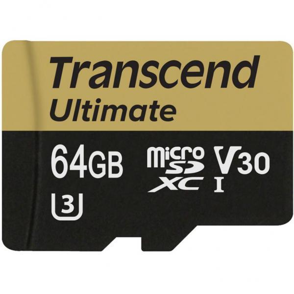 Карта памяти MicroSD 64GB Class 10 U3 Transcend TS64GUSDU3M
