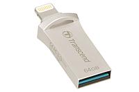 USB-флеш для Apple Transcend JetDrive Go 500 TS64GJDG500S (64Gb, Silver-Platinum)