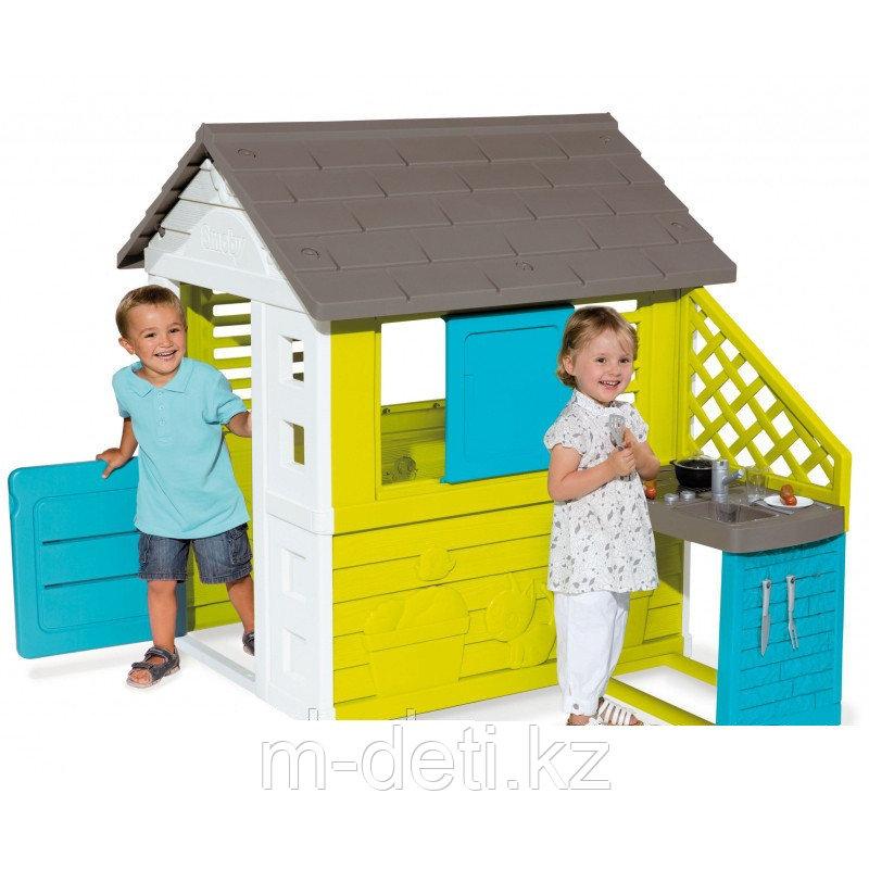 Игровой домик с кухней синий 810711 Smoby