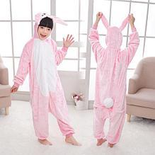 Детская пижама кигуруми заяц розовый