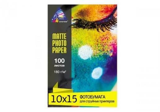 Матовая фотобумага INKSYSTEM 180g, 10x15, 100 л. для печати на Epson L850