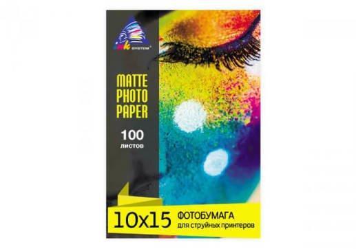 Матовая фотобумага INKSYSTEM 180g, 10x15, 100л. для печати на Epson 1500W