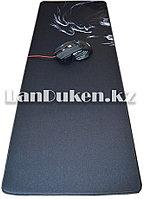 """Коврик для мышки """" Дракон Dragon"""" большой, черный с белым принтом (79,5x30 см)"""
