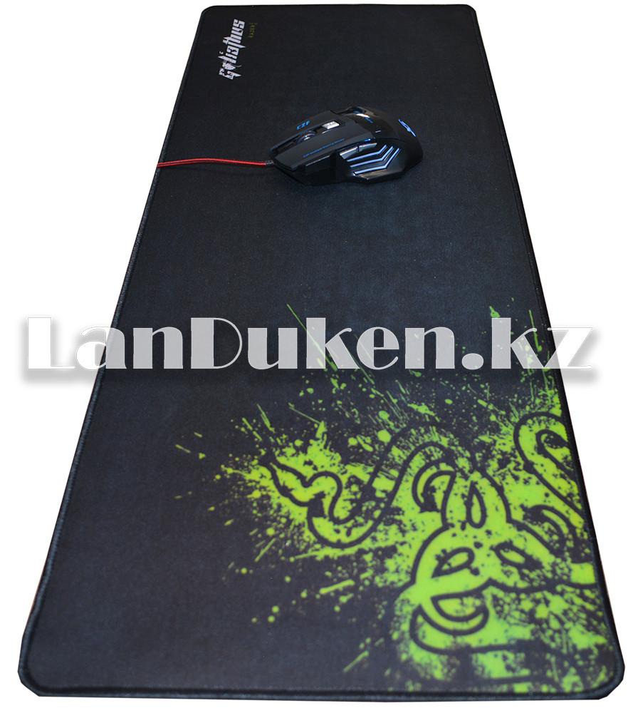 """Коврик для мышки """"Razer"""" большой, черный с зеленым принтом(78x30 см)"""