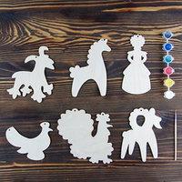 Набор для творчества 'Дымковская игрушка', 6 фигурок, акриловые краски, кисть, буклет