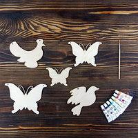 Набор для творчества 'Животные', 3, 5 фигурок, акриловые краски, кисть, буклет